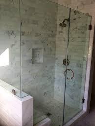frameless shower glass door with cut out for bench frameless