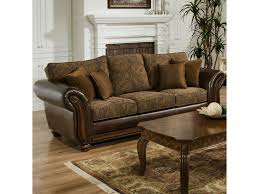Chenille Sofa And Loveseat Simmons Upholstery 8104 Stationary Leather And Chenille Sofa