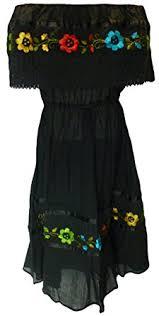 women u0027s puebla crochet mexican embroidered dress black fits
