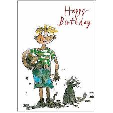 quentin blake muddy boy birthday card from ocado
