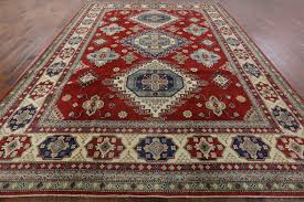 Diamond Area Rug by Unique Bold Red Diamond Motif 10x14 Super Kazak Hand Knotted Wool