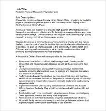 Volunteer Job Description For Resume by Occupational Therapy Job Description Occupational Therapist