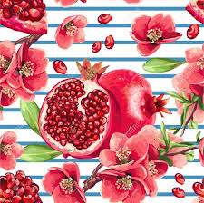 fruit and flowers pomegranate fruit and flowers of pomegranate tree seamless