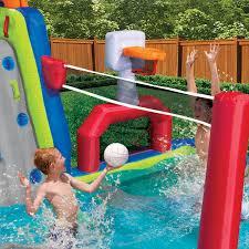 banzai inflatable aqua sports splash pool and slide backyard water