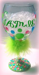 blinging personalized wine glasses with polka dots
