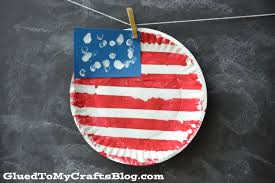 paper plate flag kid craft