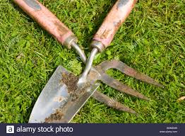 gardening garden tools hand trowel and fork laying on the grass