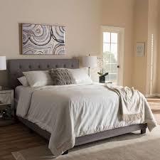 baxton studio cassandra light grey upholstered queen bed