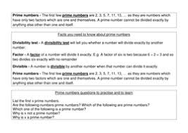 prime numbers properties maths mastery learning reinforcement