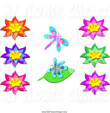 clip art of bright flowers and two butterflies by bpearth 2495