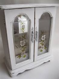 large white shabby chic jewelry box armoire cabinet case on etsy