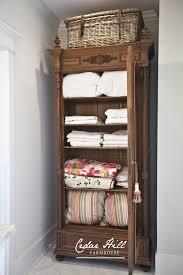 armoire linen cupboard antique armoire turned linen closet cedar hill farmhouse