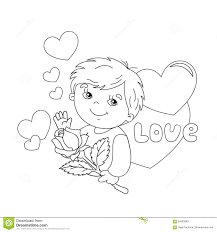 coloring page outline of boy with rose in hand with hearts stock