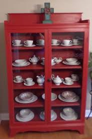 sweet little corner cabinet done in annie sloan u0027s primer red chalk