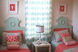 Chevron Pattern Curtains Coral And Blue Bedroom With Chevron Pattern Curtain Also Two