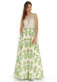 jora collection collection floral embroidered gown in green