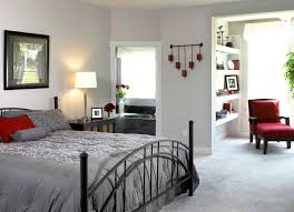 furniture comfortable bedroom design with cozy grey bed sheet and