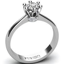 inel de logodna aur alb inel de logodna cu diamant in forma de coroana regala firesq