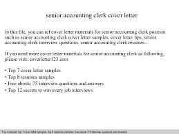 Senior Accountant Sample Resume by Senior Accounting Clerk Cover Letter