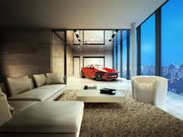 apartment large minimalist integrated car port design side by