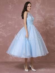 milanoo brautkleider blaue hochzeitskleid kurze tüll vintage brautkleid neckholder