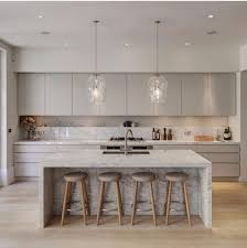 marble island kitchen i like the solid wall flat cabinets clean lines and waterfall