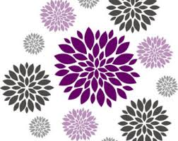 Purple Wall Decals For Nursery Flower Wall Decals Etsy