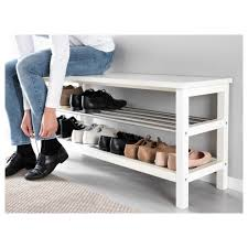 White Storage Bench Tjusig Bench With Shoe Storage Black Ikea