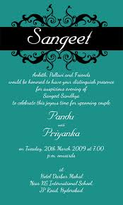 Indian Wedding Card Matter For Sangeet Sandhya Wordings