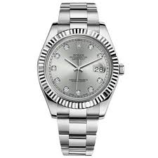 silver rolex bracelet images Rolex datejust ii silver diamond dial 18k white gold fluted bezel jpg