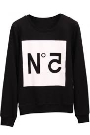 letter print long sleeve round neck sweatshirt print black