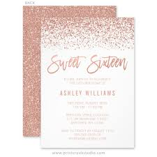 modern faux gold glitter sweet 16 birthday invitations