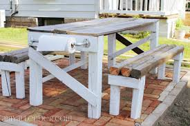 Plans For Picnic Table Bench Combo by Salvaged Lumber Picnic Table Build It Amy Allender Dot Com