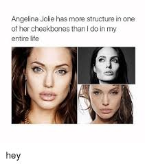 Angelina Meme - angelina jolie has more structure in one of her cheekbones than l do