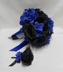 Royal Blue Boutonniere Wedding Bridal Bride U0027s Bouquet Silk Flowers Black Roses