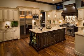stone backsplash ideas kitchen traditional with blue wall