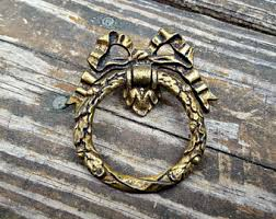 French Country Cabinet Hardware by Etched Gold Ring Pull Gold Brass Drawer Pulls French Vintage