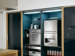 Appliance Storage Cabinet Modern Kitchen Appliances Tucked Inside Cabinets With Black And