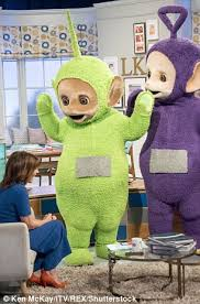teletubby appears grab lorraine kelly u0027s breast daily mail