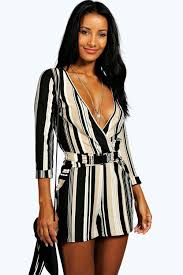 boohoo clothes lucia striped relaxed self belt playsuit boohoo