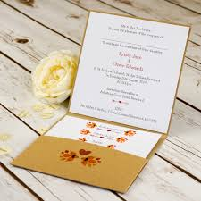 pocket fold autumn pocketfold wedding invitation bluebird