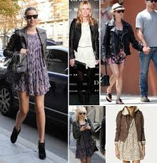 how to wear short summer dress in winter leather jacket