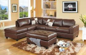 Modern Leather Sectional Sofa Brown Bonded Leather Modern Sectional Sofa W Storage Ottoman