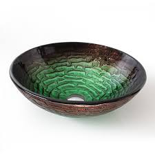 green glass vessel bathroom sinks artistic round hand painted tempered glass vessel sink for
