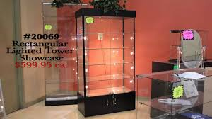Lighted Display Cabinet Item 20069 Rectangular Lighted Tower Showcase Youtube