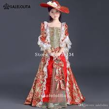 Marie Antoinette Halloween Costume 2017 Latest Designs Children Red Printed Lace Floor Length