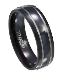 mens titanium rings mens black titanium ring silver rows