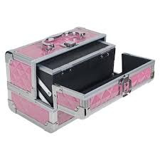 Make Up Vanity Case Mini Makeup Train Case With Mirror Polite Pink Shany Cosmetics