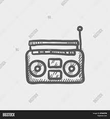 radio cassette player sketch icon vector u0026 photo bigstock