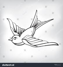 vector drawing sparrow tattoo line art stock vector 323131745